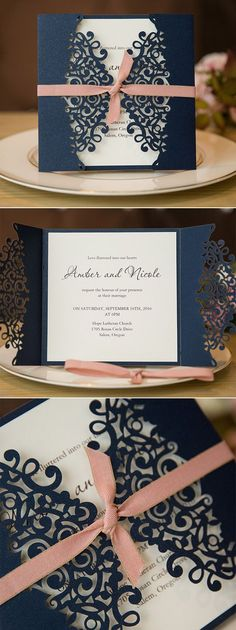 elegant navy blue and blush (purple and glitter/champagne ribbon) laser cut wedding invitations #stylishweddinginvitations