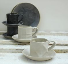 black and white textured espresso cups and saucers for coffee lovers. $35,00, via Etsy.