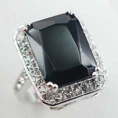 Eillen Sterling Silver Plated Rings Onyx
