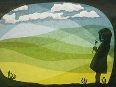 Handgemachte Foto-Grußkarte mit Umschlag. Foto ist von einer ursprünglichen Fensterbild mit einem Mädchen bläst ein Löwenzahn. Das beigefügte Foto zeigt nur das Design, das auf Weiß / Elfenbein...