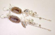 Tabasco Geode Dangle Earrings -Sterling Silver Chain Wire Wrap Gemstone Chain Dangle Earrings