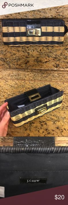 J. Crew Straw Clutch Navy and Tan striped straw clutch from J.Crew with gold detailing! Perfect Condition! J. Crew Bags Clutches & Wristlets