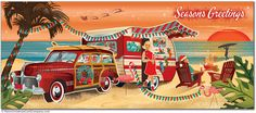 Vintage Beach Camper Christmas Cards, Package of 8  Our Vintage Beach Camper Christmas Cards feature a decorated vintage camper with a classic Woody Wagon. A Christmastime beach scene. A couple are enjoying cocktails as they watch the surfers in the sunset colors. Festive flamingos add Christmas decor with a string of old fashioned Christmas lights. What a perfect camping spot for a warm Christmas eve.  8 cards & color envelopes $13.00 | Folded Card Size 4.0″x 9.25″