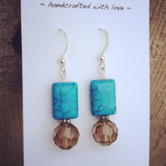 Turquoise and Gray Beige Sterling Dangle by dragonflydesigns01, $14.00