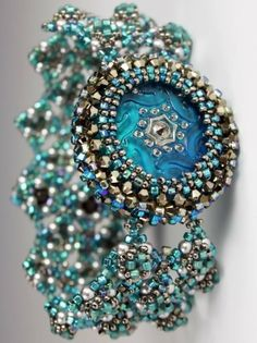 ~~The Rising Sun in Silver Teal ~ beaded bracelet by Marcia DeCoster | MadDesigns