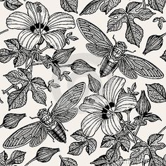 Hibiscus cicadas. Flowers mallow insects fauna. Seamless textile. Drawing engraving. Freehand  realistic. Beautiful background blooming flowers. Floral baroque. Vintage Victorian illustration.