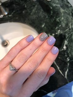 Light purple and silver powder gel nails #powder #gel #nails #spring #silver #purple