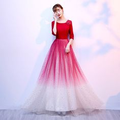 Affordable Red Evening Dresses 2020 A-Line / Princess Scoop Neck Sleeve Flower Glitter Tulle Floor-Length / Long Formal Dresses Pretty Prom Dresses, Dresses To Wear To A Wedding, Nice Dresses, Bridesmaid Dresses, Formal Dresses, Vestidos Junior, Junior Dresses, Robes Pour Juniors, Tulle