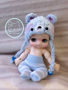 Nappy Choo Bisou Ai 4-5 inches head blue bear hat