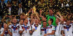 Germany lifts the 2014 World Cup trophy.