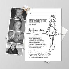 Konfirmationsinvitationer - Få designet din egen skabelon - Se her Girly, Hygge, Scrapbook, Diy Crafts, Invitations, A5, Kids, Inspiration, Brunch