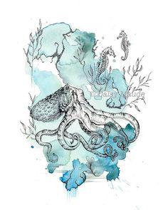 Octopus  Watercolour Sea Creature Pen Ink Illustration Fine