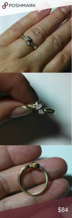 10k gold diamond sweetheart promise ring Solid 10K yellow gold with 8 real natural white diamonds. Size 6.25. 2 2.4g  Selling at today's gold spot price so price is FIRM.   Basically that means that this is the price (including Posh's fee) that I will get scrapping it for the gemstone(s) with my diamond dealer and for the gold at my county refinery. But this piece of jewelry is NOT scrap, it is a lovely ring that needs a new home so it won't get melted down this week.  Price cheaper on…