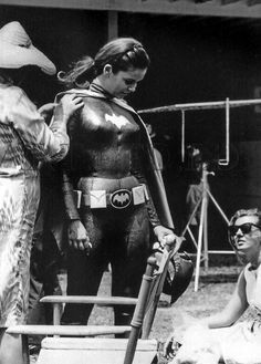 It's the and Yvonne Craig is being dressed for her role as Batgirl for the campy ABC TV show, Batman. Though you can't tell from this photo, Batgirl wore a purple and yellow outfit. Batman Tv Show, Batman Tv Series, Yvonne Craig, Dc Comics, Batman Comics, Batman Art, Dc Batgirl, Batwoman, Batman 1966