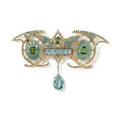 Aquamarine, tourmaline, diamond and gold brooch by Georges Fouquet circa 1901 (offered by Hancocks).