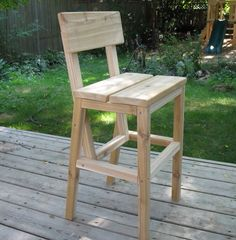 Our Outdoor Cedar Higher Chair - another great plan (modified) from Ana White Pallet Bar Stools, Diy Bar Stools, Diy Stool, Outdoor Bar Stools, Diy Chair, Bar Chairs, Outdoor Chairs, Room Chairs, Office Chairs