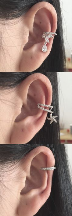 Pretty Delicate Ear Piercing Ideas at MyBodiArt.com - Crystal Cartilage Earring - Silver Conch Hoop - Stafish Star Helix Ring