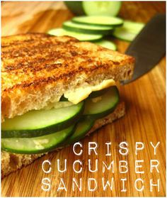 Crispy Cucumber Sandwiches - today's lunch...so yum!!  Used Chef Earl's Hot Giardiniera Hummus for an extra kick.  Might try adding feta cheese next time too.