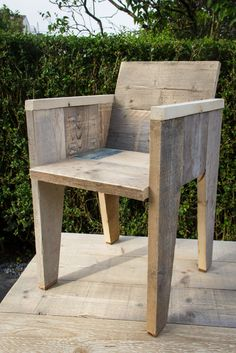 Chair made with reclaimed wood