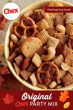 This tried-and-true classic is the mix everyone's craving this time of year. Make it in the oven or microwave and enjoy the delicious aroma that fills your house. With salty, crunchy, rich and savory flavors, Original Chex™ Party Mix is the essential Thanksgiving snack for your crowd.