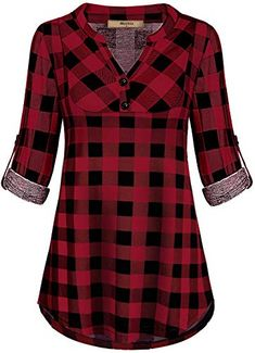 online shopping for Miusey Womens Mandarin Collar Plaid Roll Sleeve V Neck Flowy Loose Tunic Blouse from top store. See new offer for Miusey Womens Mandarin Collar Plaid Roll Sleeve V Neck Flowy Loose Tunic Blouse Plaid Shirt Women, Dress Shirts For Women, Blouses For Women, Tunic Blouse, Shirt Dress, Tunic Tops, Stil Inspiration, Blouse Online, How To Roll Sleeves