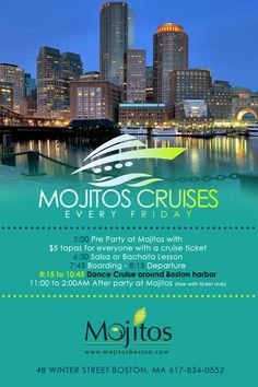 summer cruise with mojito. includes theme, preparty, salsa lesson, dance cruise, and after party with VIP access!