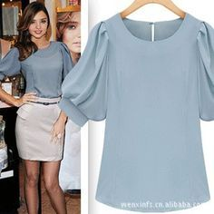 2015 New Fashion Sheer Blouse Spring & Summer Women Casual blouses Bubble Short-sleeved Shirts Ladies White plus size Blusa - Herren- und Damenmode - Kleidung Blouse Styles, Blouse Designs, Work Fashion, Fashion Outfits, Fashion Blouses, Fashion Fashion, Fashion Women, Fashion Ideas, Blouse And Skirt
