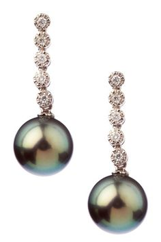 9-10mm Natural Black Tahitian Pearl Diamond Earrings by Pearl Jewelry on @HauteLook