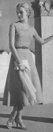 Vintage Knitting PATTERN Beaded Evening Dress 1950s VogueBeadTopDress