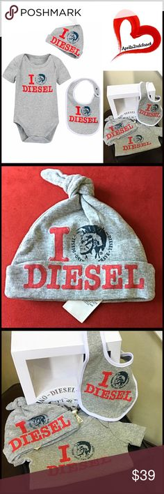 DIESEL 3 Piece Gift Box Set Bodysuit Hat Bib 💟NEW WITH TAGS💟    DIESEL 3 Piece Box Set - Bodysuit, Hat & Bib ***Gift Box Included   * Super soft & comfortable   * Scoop neck   * Bottom snap closures   * Short sleeves   * Front graphic & ribbed trim   * Machine wash     Fabric: 100% cotton  Color: Grey, Red  Item#:    🚫No Trades🚫 ✅ Offers Considered ✅  Key search words # Diesel Matching Sets