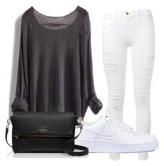 """""""BW girl"""" by audhayfi on Polyvore featuring Frame Denim, NIKE, Kate Spade, simple, blackandwhite and hangout"""