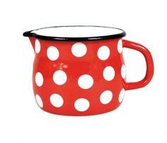 Kubek emaliowany wypukły z dziobkiem czerwony w kropki Elo-Pol 12cm 0,9L White Dishes, Kitchen Items, Sugar Bowl, Bowl Set, Red And White, Dots, Tableware, Google, Porcelain Ceramics