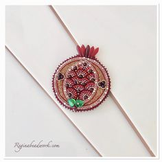 Pomegranate brooch pin Embroidered Garnet Pomegranate Jewelry Rhinestone Red brooch Green Leaves Gorgeous Christmas gift Judaica jewelry