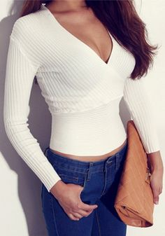 V Neckline Knit White - Stretch Fabric Top
