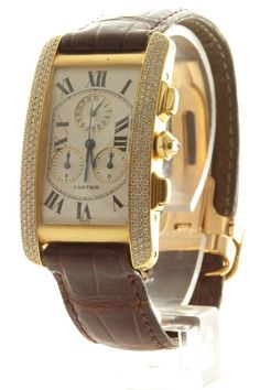 Elegant Cartier tank Americaine gents 18ct yellow gold watch with a diamond bezel and leather strap. Watch features a white roman numeral dial and automatic movement.