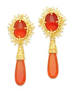 Beautiful Handmade Carnelian 22K Gold Drop Earrings by Carolyn Tyler. Come see her fabulous pieces at our 3-day trunk show October 17-19th.   #French #designer #jewelry #luxury #CarolynTyler #Scottsdale