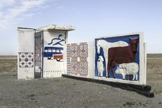 In Kazakhstan, many bus stops are decorated with murals, often pastoral scenes.
