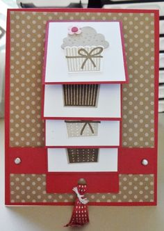 Stampin' Up! demonstrator shows how to create fun cards and scrapbook pages using Stampin' Up! Flip Cards, Fancy Fold Cards, Folded Cards, Waterfall Cards, Cupcake Card, Card Making Templates, Interactive Cards, Card Making Techniques, Card Tutorials