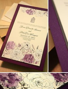Purple and White Floral and Birdcage Wedding Invitation Gold Invitations, Watercolor Invitations, Invitation Card Design, Shower Invitations, Invitation Cards, Wedding Anniversary Cards, Wedding Cards, Our Wedding, Dream Wedding