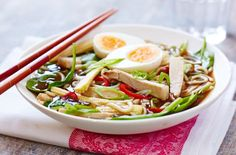This Japanese-style main course soup is a meal in a bowl – eat with chopsticks to start with and then slurp the delicious flavoured stock with a spoon or lift the bowl and drink it. Find out how to make simple pork ramen soup at Tesco Real Food.