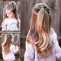 I have to say, my absolute favorite hair trend right now is the super high half up ponytail! Why not add a braid to it? For a how to description, check out our post on @cutegirlshairstyles blog! Link in bio!