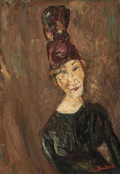 View La femme au grand chapeau (Circa By Chaim Soutine; oil on canvas; x cm. Access more artwork lots and estimated & realized auction prices on MutualArt. Portraits, Portrait Art, Artist Painting, Painting & Drawing, Chaim Soutine, Modigliani, Paintings I Love, Life Drawing, Love Art