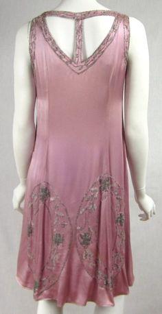1920s Silk Beaded Dress, back view