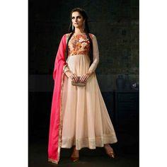 LIGHT PEACH SILK & LYCRA ANARKALI SUIT Price - £80.00 #AnarkaliSuit #OnlineSuit #IndianSuitOnline #DesignerDresses #ShopkundUK