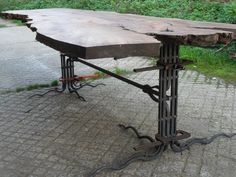 London Plane Table legs (in progress), handmade ironwork by Tom Fell - Blacksmith