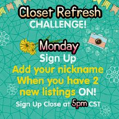 Monday Closet Refresh Sign Up Sheet Welcome back sweethearts! Share Group  Other