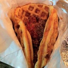 Fried Chicken Bacon-Waffle Taco! Love the food trailers in Austin!