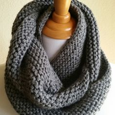 Bulky Grey Infinity cowl by Woolables