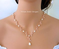 Wedding Necklace Pearl Rose Gold Y Bridal VINE Cubic Zirconia Maid of Honor Mother of the Bride Matc Pearl Necklace Wedding, Bridal Necklace, Pearl Jewelry, Necklace Set, Gold Jewelry, Wedding Necklaces, Mother Necklace, Garnet Necklace, Necklace Ideas