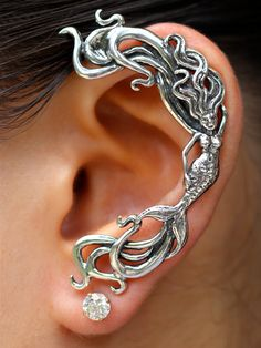 Mermaid Ear Wrap Silver Mermaid Ear Cuff Wave Ear Cuff Wave Rider Mermaid Ear Wrap Mermaid Jewelry Mermaid Earring Silver Mermaid Ear Jacket – New Tattoo Models Silver Ear Cuff, Silver Earrings, Pearl Earrings, Dragon Ear Cuffs, Jewelery, Silver Jewelry, Ear Cuff Jewelry, Skull Jewelry, Hippie Jewelry